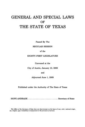 Primary view of object titled 'General and Special Laws of The State of Texas Passed By The Regular Session of the Eighty-First Legislature, Volume 5'.
