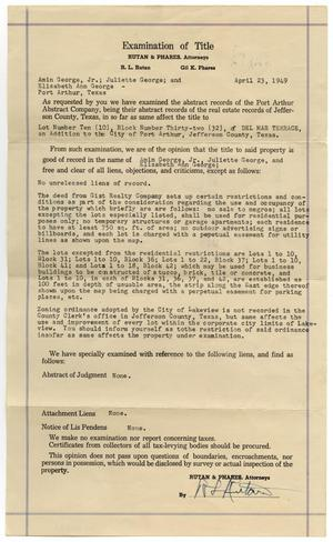 Primary view of object titled 'Examination of Title to Lot Number Ten, Block Number Thirty Two of Del Mar Terrace'.