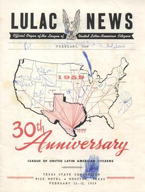 Primary view of object titled 'LULAC News, Volume 27, Number 2, February 1959'.