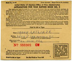 Primary view of object titled '[Application for War Ration Book by Frank Latlip]'.