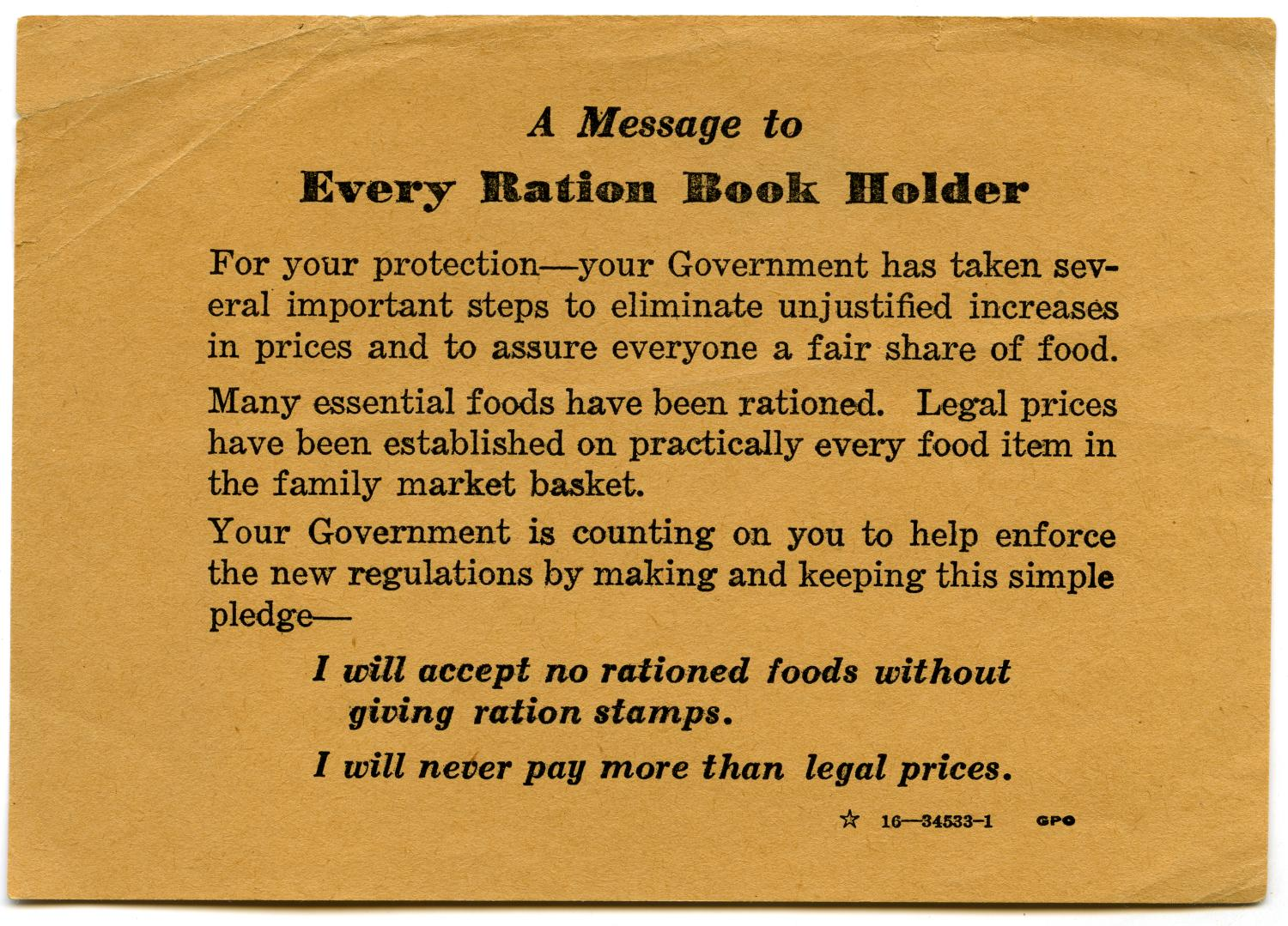 [Card with message for ration book holders]                                                                                                      [Sequence #]: 1 of 2