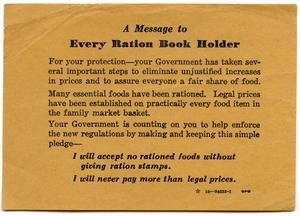 Primary view of object titled '[Card with message for ration book holders]'.