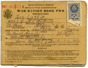 Primary view of object titled '[John Latlip's War Ration Book Two]'.