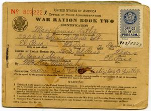 Primary view of object titled '[Mary Louise Latlip's War Ration Book Two]'.