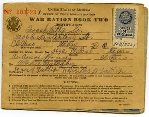 Primary view of object titled '[Frank Latlip, Senior's War Ration Book Two]'.