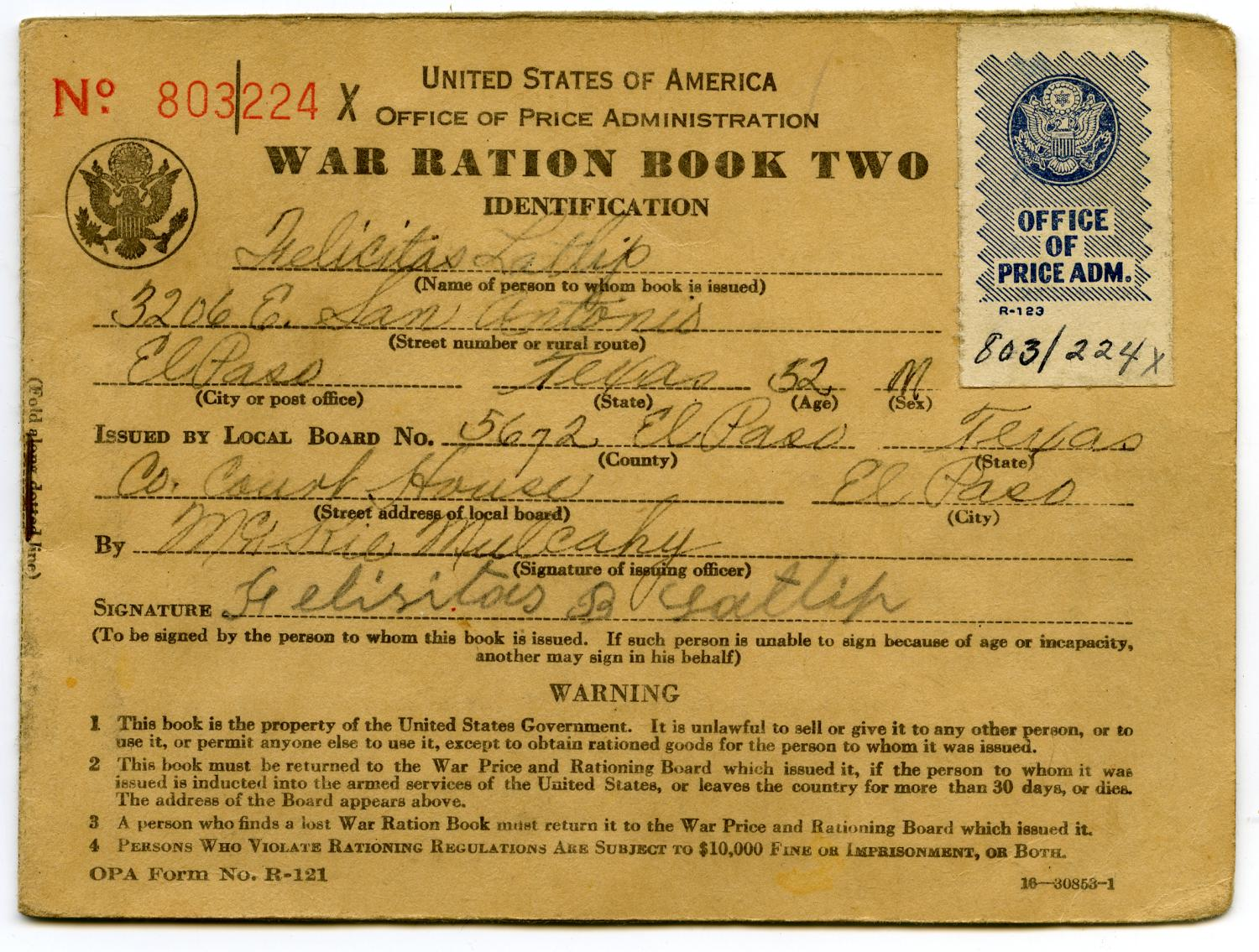 [Felicitas Latlip's War Ration Book Two]                                                                                                      [Sequence #]: 1 of 7