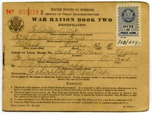 Primary view of object titled '[Felicitas Latlip's War Ration Book Two]'.
