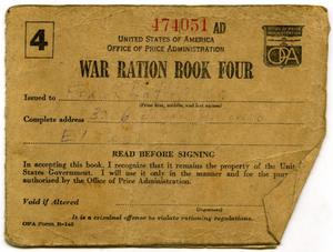 Primary view of object titled '[Frank Latlip, Senior's War Ration Book Four]'.