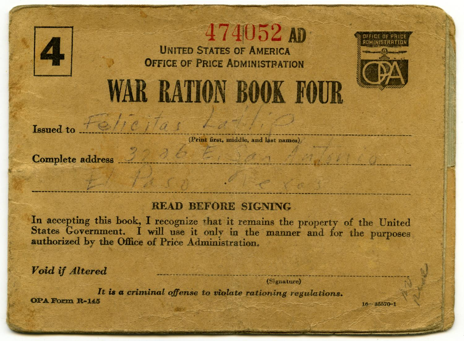 [Felicitas Latlip's War Ration Book Four]                                                                                                      [Sequence #]: 1 of 5
