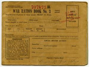 Primary view of object titled '[Mary Louise Latlip's War Ration Book Three]'.