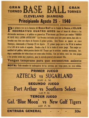 [Advertisement of a baseball tournament at Cleveland Diamond field]
