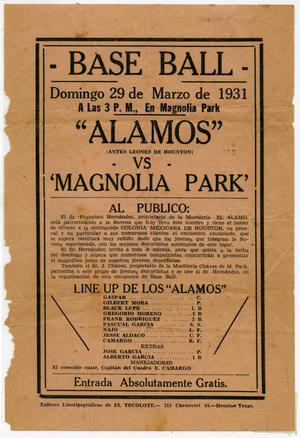 Primary view of object titled '[Advertisement of a baseball game, Alamos versus Magnolia Park]'.