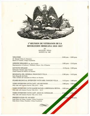 Primary view of object titled '[Agenda of the first reunion de veteranos de la Revolucion Mexicana, 1910-1917]'.