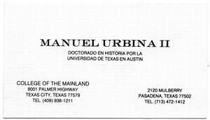 Primary view of object titled '[Business card of Manuel Urbina]'.