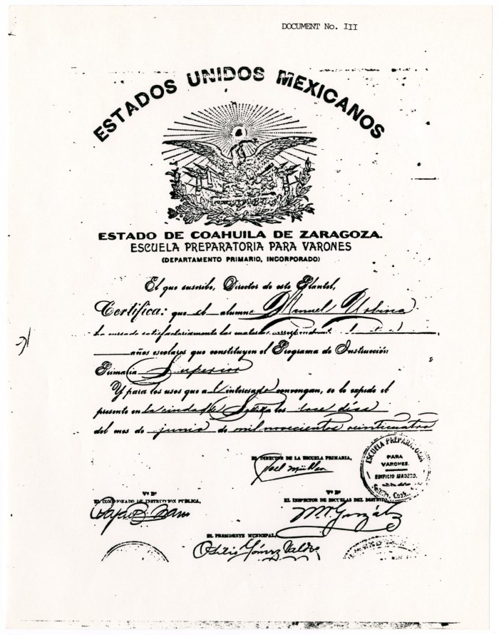 Certificate Of Graduation From The Estado De Coahuila De Zaragoza