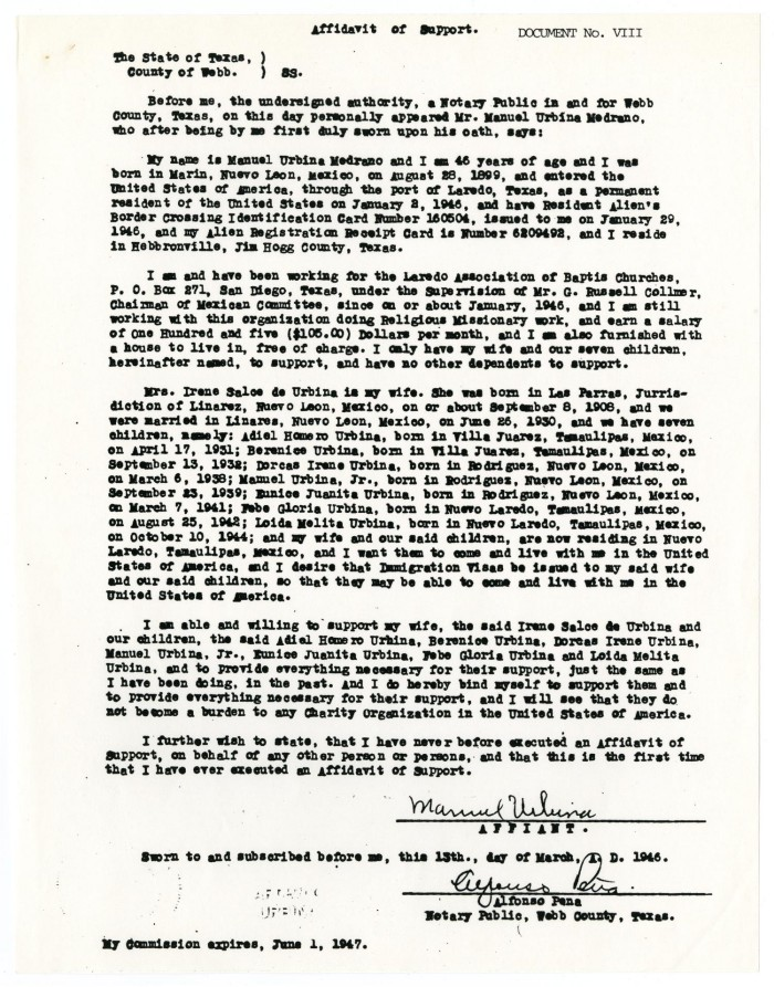 Affidavit Of Support From Manuel Urbina] - The Portal To Texas History