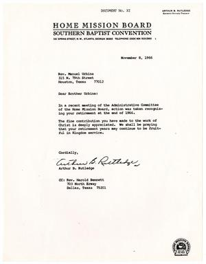 Primary view of object titled '[Letter from Arthur B. Rutledge to Manuel Urbina - 1966-11-08]'.