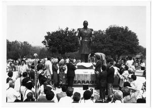 Primary view of object titled '[Unveiling of statue of Ignacio Zaragoza at Goliad, Texas]'.