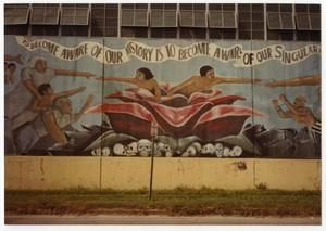 Detail of the mural the rebirth of our nationality for Chicano mural movement