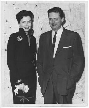 Primary view of object titled '[Ann Miller welcomed to Houston by Mayor Roy Hofheinz]'.