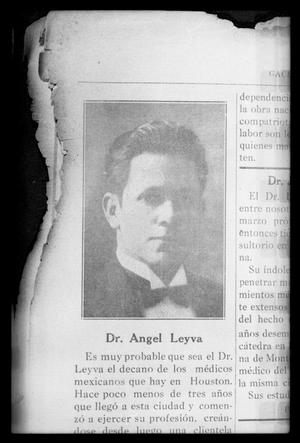 Primary view of object titled '[Newspaper clipping about Dr. Angel Leyva]'.