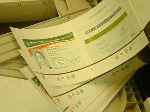 Primary view of object titled '[Stack of printed identification cards]'.