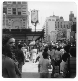 Primary view of object titled '[Fiestas Patrias parade near Rice Hotel]'.