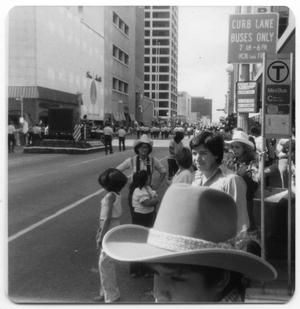 Primary view of object titled '[Spectators at Fiestas Patrias parade]'.