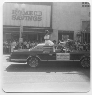 Primary view of object titled '[Photograph of Miss Fiestas Patrias in parade car]'.
