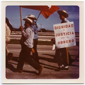 Primary view of object titled '[Men carrying flags and sign in Minimum Wage March]'.