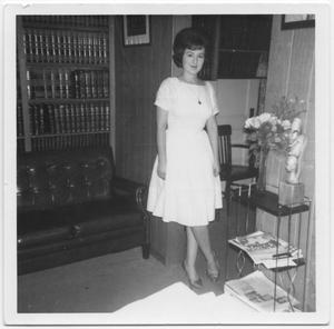 Primary view of object titled '[Bernice Kinkaid standing in an office]'.