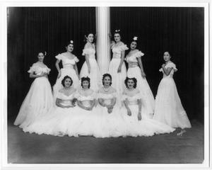 Primary view of object titled '[Ten Club Terpsicore members posing at the White Ball]'.