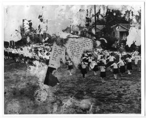 Primary view of object titled '[Children exercising at Our Lady of Guadalupe Church and School]'.