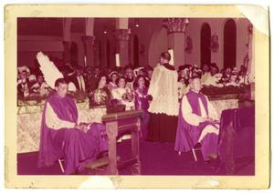 Primary view of object titled '[Church service in Our Lady of Guadalupe Catholic Church]'.