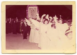 Primary view of object titled '[Photograph of a procession of children for Our Lady of Guadalupe]'.