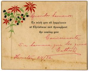 Primary view of object titled '[Christmas card sent by Esther - 1932]'.