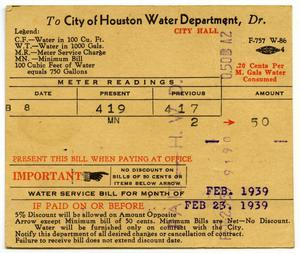 Primary view of object titled '[Water service bill for Nicandro Medrano from the City of Houston]'.