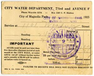 Primary view of object titled '[Water service bill for Nicandro Medrano from the City of Magnolia Park]'.