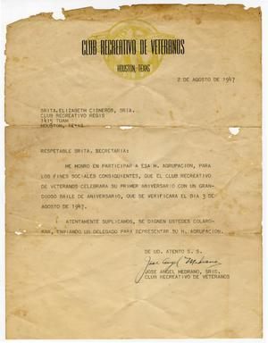 Primary view of object titled '[Letter from Jose Angel Medrano to Elizabeth Cisneros - 1947-08-02]'.