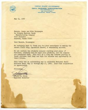 Primary view of object titled '[Letter from Donald D. Grose to Jesse and Mike Bocanegra - 1969-05-27]'.