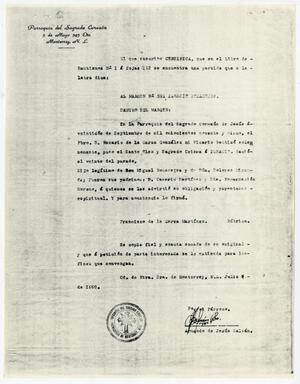 Primary view of object titled '[Certificate of baptism for Ignacio Bocanegra]'.