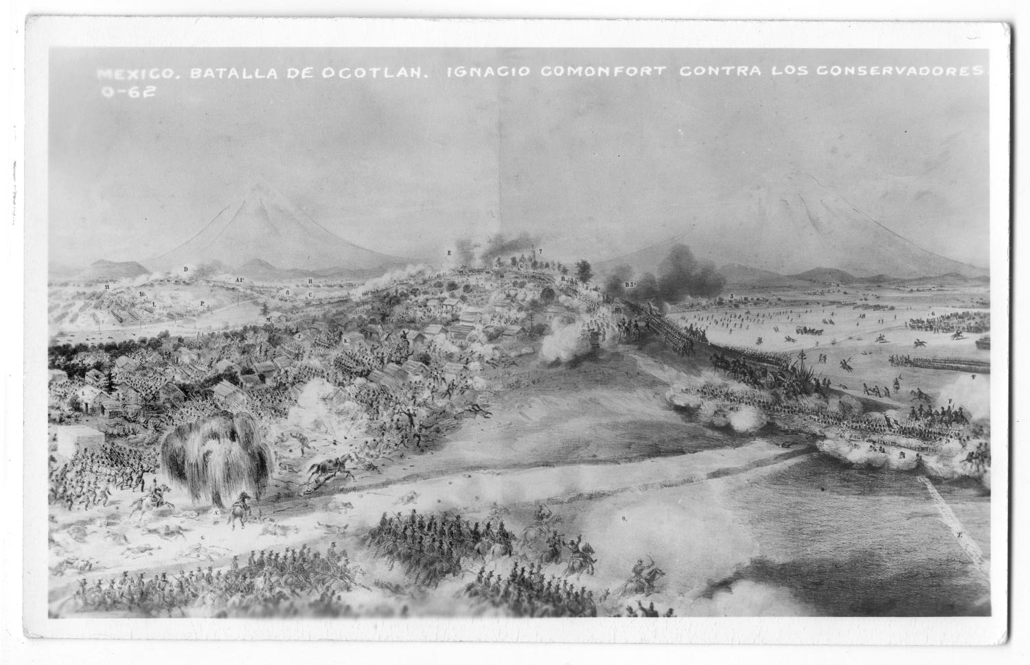 [Postcard of the Battle of Ocotlán]                                                                                                      [Sequence #]: 1 of 2