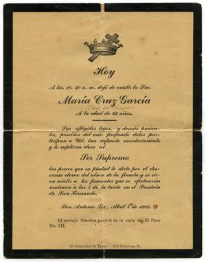 Primary view of object titled '[Notice of burial for Maria Cruz Garcia, April 4, 1914]'.