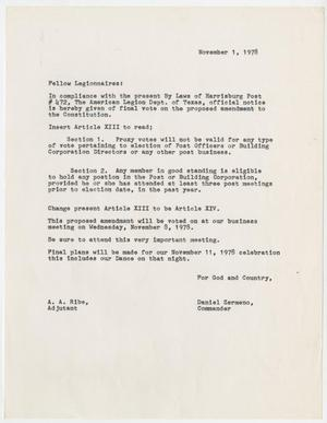 Primary view of object titled '[Letter from Daniel Zermeno about an amendment to the Texas Constitution - 1978-11-01]'.