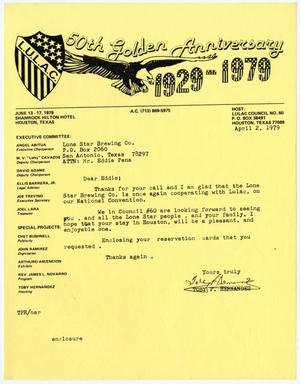 Primary view of object titled '[Letter from Toby P. Hernandez to Eddie Pena - 1979-04-02]'.