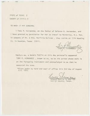 Primary view of object titled '[Letter authorizing Dolores Hernandez to travel with Mr. & Mrs. Porfirio Beltran]'.