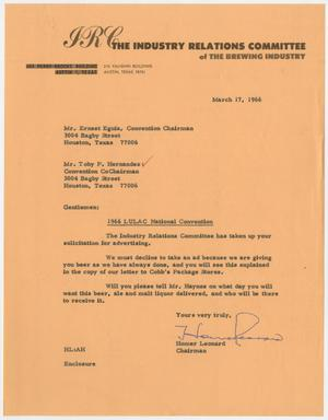 Primary view of object titled '[Letter from Homer Leonard to Toby P. Hernandez and Ernest Eguia - 1966-03-17]'.