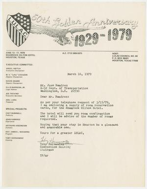 Primary view of object titled '[Letter from Toby P. Hernandez to Juan Ramirez - 1979-03-16]'.