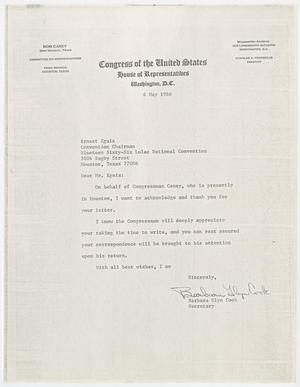 Primary view of object titled '[Letter from Barbara Glyn Cook to Ernest Eguia - 1966-05-06]'.
