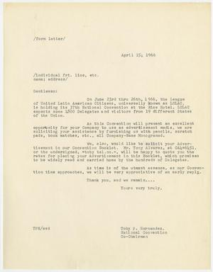 Primary view of object titled '[Form letter from Toby P. Hernandez - 1966-04-15]'.